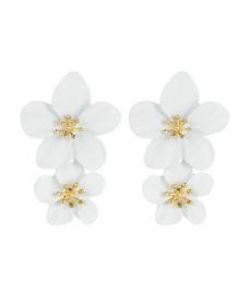 Beyaz Çiçek Küpe 5 Cm
