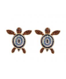 Kaplumbağa Küpe Renkli Taşlı Moda Küpe Modelleri