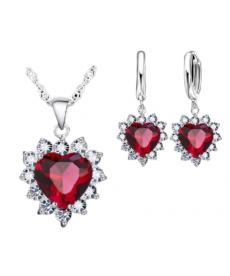 Kırmızı Taşlı Kalp Kolye Set Sevgiliye Hediye