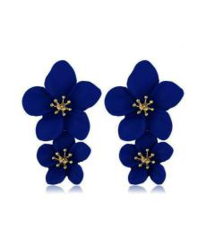 Lacivert Çiçek Küpe 5 Cm