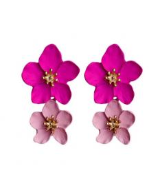 Pembe Çiçek Küpe 4 Cm