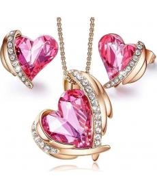 Rose Gold Renk Kalp Kolye Küpe Takı Seti Yıldönümü Hediye