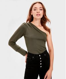 Haki Renk Tek Omuzlu Kadın Bluz