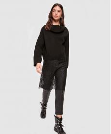 Kadın Dantel Detaylı Siyah Triko Tunik