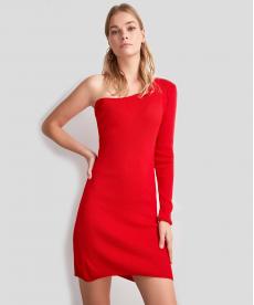 Kırmızı Tek Kol Triko Elbise