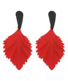 Kırmızı Yaprak Damla Uzun Küpe 8 Cm