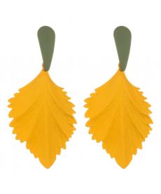 Sarı Yaprak Damla Uzun Büyük Küpe 8 Cm