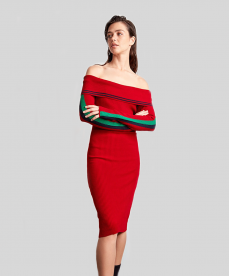Şerit Detaylı Kırmızı Triko Elbise