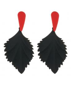 Siyah Kırmızı Yaprak Damla Küpe 8 Cm