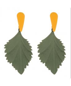 Yeşi Yaprak Damla Uzun Büyük Küpe 8 Cm