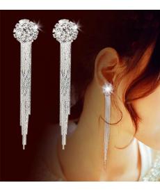 Beyaz Taş Kore Tasarım Küpe Nişan Düğün Küpe Modelleri