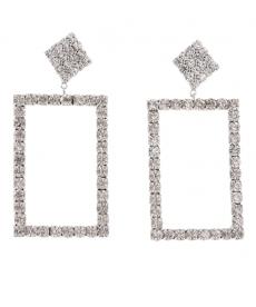 Beyaz Taşlı Geometrik Küpe Gelin Nişan Düğün Takıları