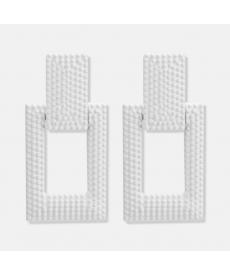 Geometrik Beyaz Küpe 5 Cm