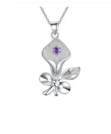 Gümüş Kaplama Çiçek Kolye Anneler İçin Hediye