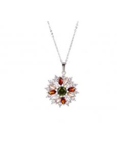 Gümüş Kaplama Çiçek Kolye Güzel Hediyeler