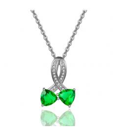 İki Kalp Yeşil Zirkon Taşlı Kolye Sevgiliye Hediyeler