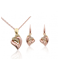 Kalp Küpe ve Kolye Set Rose Gold Renk