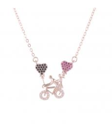 Kalpli Bisiklet Aşk Kolyesi Rose Gold Renk