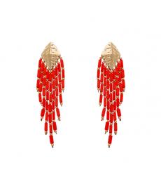 Kırmızı Boncuklu Uzun Moda 2020 Küpe Modelleri