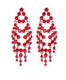 Kırmızı Taşlı Büyük Uzun Abiye Küpe Modelleri 2020