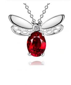 Kırmızı Taşlı Yusufçuk Kolye 925 Gümüş Kaplama