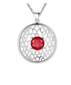 Kırmızı Tek Taş Yuvarlak Geometrik Kolye