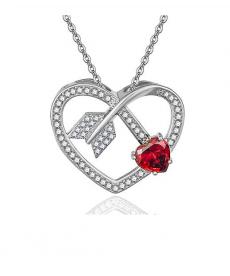 Kırmızı Zirkon Cz Kalp Kolye Sevgiliye En Güzel Hediyeler