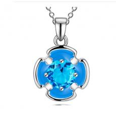 Mavi Çiçek Kolye 925 Gümüş Kaplama Kolye