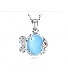 Mavi Opal Balık Kolye Gümüş Kaplama