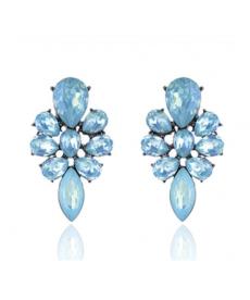 Opal Mavi Çiçek Küpe