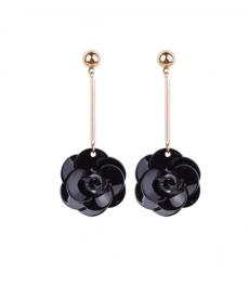 Siyah Çiçek Taç Yaprağı Küpe Akrilik Uzun Sallantılı Küpe