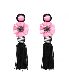 Siyah Püsküllü Pembe Çiçek Büyük Uzun Küpe
