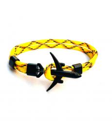 Uçak Bileklik Sarı Siyah Örgü Halat Bileklik Modelleri 2020