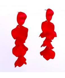 Yeni Tasarım Kırmızı Çiçek Yaprakları Uzun Sallantılı Küpe