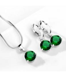 Yeşil Taşlı Kolye Küpe Zirkon Hipoalerjenik Kolye Set
