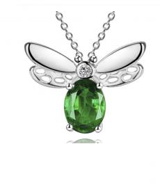 Yusufçuk Kolye Yeşil Taşlı 925 Gümüş Kaplama