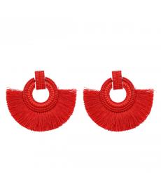 Kırmızı Püskül Küpe Büyük Vintage Kırmızı Abiye Küpe Moda Takılar