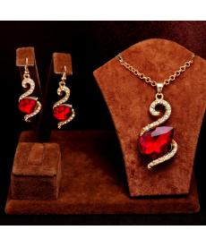 Kuğu Model Kırmızı Taşlı Kolye Küpe Set
