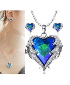 Melek Kanatları Kalp Kolye Küpe Set Mavi Taş Güzel Hediyeler