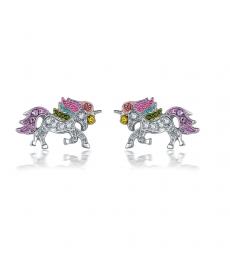 Renkli Taşlı Pegasus Küçük Küpe