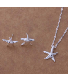 Deniz Yıldızı Kolye Küpe Set Gümüş Kaplama