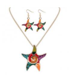 Deniz Yıldızı Model Kolye Set Renkli Yaz Takıları