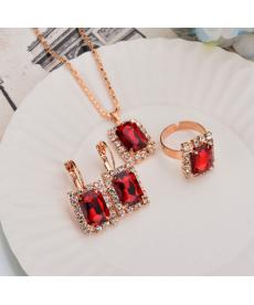 Kırmızı Abiye Gerdanlık Set Söz Nişan Düğün Gelin Takı Aksesuarları