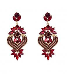 Kırmızı Abiye Küpe Moda 2019 Büyük Küpe Düğün Takıları