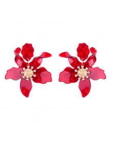 Kırmızı Akrilik Çiçek Büyük Küpe