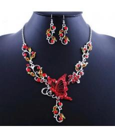 Kırmızı Kelebek Kolye Set En Güzel Hediyeler