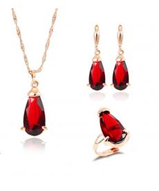 Kırmızı Taşlı Takı Seti Altın Renk Yüksek Kalite Nişan Setleri