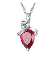 Kırmızı Zirkon Taş Gümüş Kaplama Sevgiliye Hediye Kolyeler