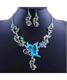 Mavi Kelebek Kolye Küpe Gerdanlık Set