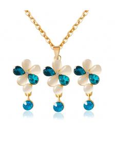 Opal Taşlar Çiçek Model Küpe Kolye Set Güzel Hediyeler